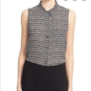 Theory Yarine Tweed Print Silk Sleeveless Top